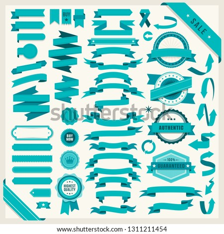Flat vector ribbons banners flat isolated on white background, Illustration set of blue tape