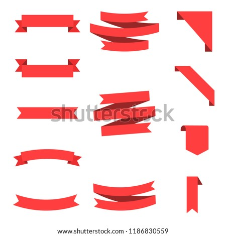 Flat vector ribbons banners flat isolated on white background, Illustration Set of ribbons. Ribbon vector. #1186830559