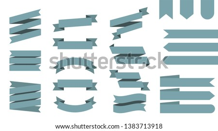 Flat vector ribbons banners isolated background. Ribbon turquoise colored. Set ribbons or banners. Vector illustration