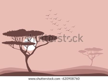 flat vector savannah landscape...
