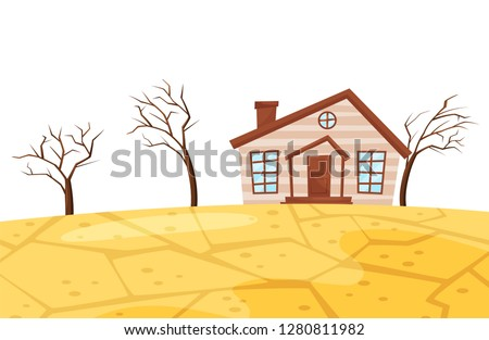 Flat vector scene of drought. Small living house, dry trees and cracked earth. Ecological catastrophe. Natural disaster
