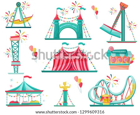 Flat vector set of amusement park icons. Funfair attractions, entrance gate, circus tent and shooting gallery