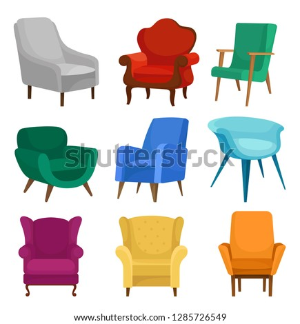 flat vector set of armchairs