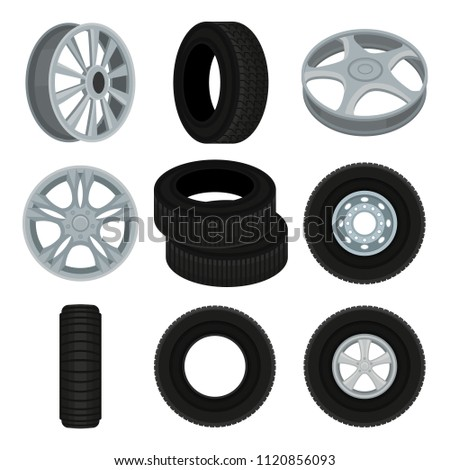 Flat vector set of car disks and tires. Alloy wheels. Elements for advertising banner or poster of auto service or shop