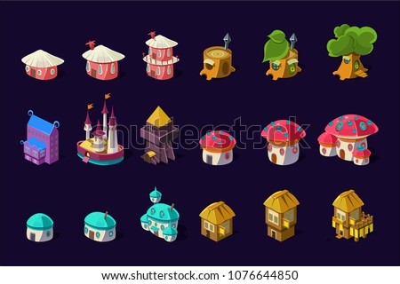 Flat vector set of colorful buildings for mobile game. Cartoon fairy houses in shapes of trees and mushrooms. Cute princess castle