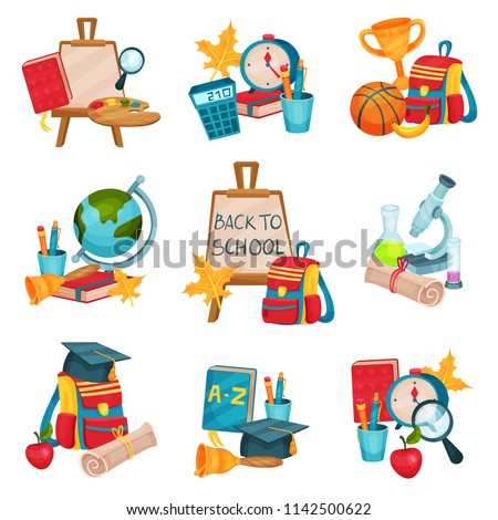 Flat vector set of compositions with objects related to school theme. Easel with canvas, books, backpack, laboratory equipment, graduation hat
