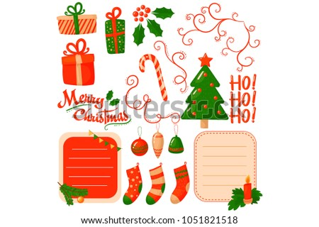 Flat vector set of decorative elements for Christmas postcard. Gift boxes, green holiday tree, candy cane, glass balls, stickers with place for text. Ho-ho-ho!