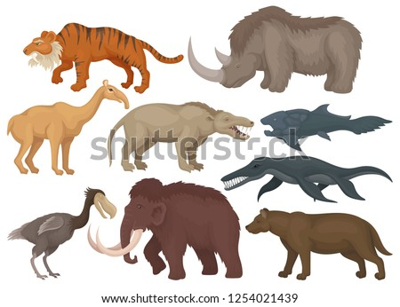 Flat vector set of different extinct prehistoric animals. Fishes, bird and wild mammal beasts. Wildlife theme
