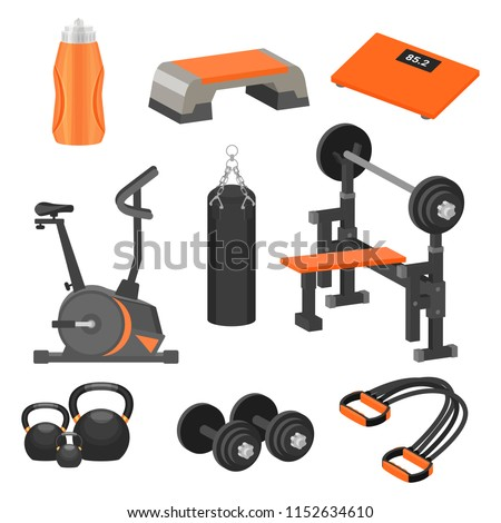 Flat vector set of different sport items and exercise equipment. Healthy lifestyle theme. Elements for advertising poster or banner