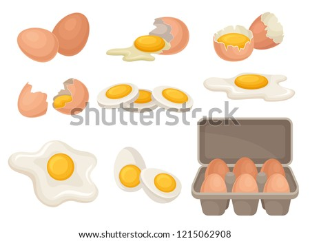 Flat vector set of eggs in different forms raw, boiled and fried. Organic farm product. Cooking ingredient for breakfast