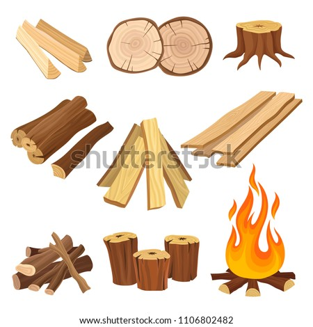 flat vector set of firewood