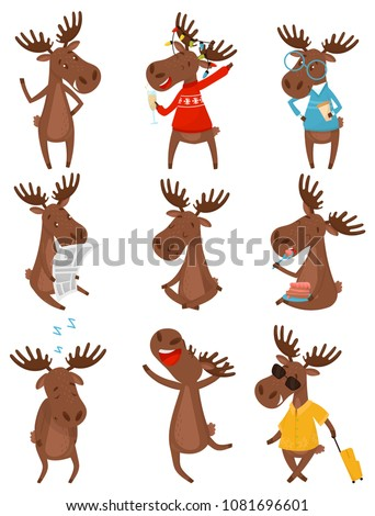 flat vector set of funny brown