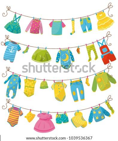 Shutterstock Flat vector set of kids clothes on rope. Apparel for newborn boy or girl. Bodysuit, skirt, t-shirt, sweater, pants, baby romper, cap, sock, dress. Children s garment