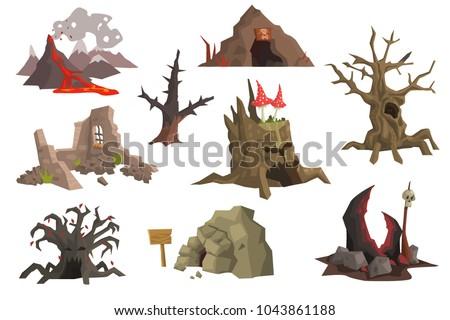 flat vector set of landscape