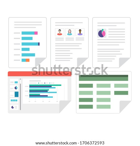 Flat vector set of Microsoft Office business documents. Word, Excel and PowerPoint document icons.