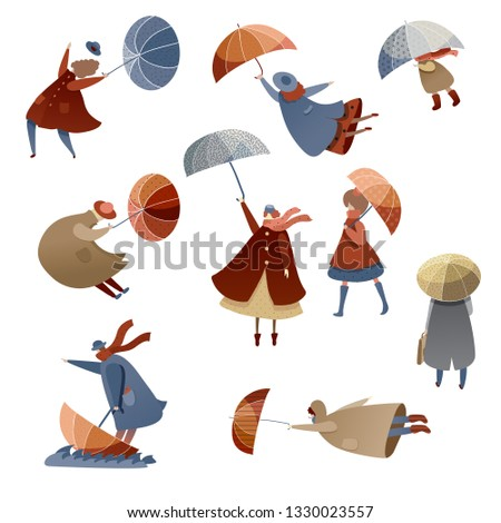 Flat vector set of people with umbrellas. Windy day. Bad weather. Men, women and kids in raincoats. Autumn season