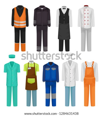 Flat vector set of staff clothing. Uniform of roadman, guard, hospital and restaurant workers. Workwear theme