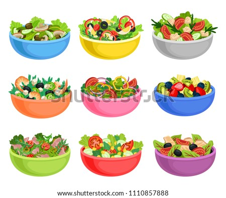 Flat vector set of vegetable and fruit salads. Appetizing dishes from fresh products. Organic and healthy food