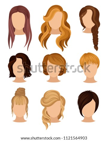 Flat vector set of women s heads with various trendy hairstyles. Long and short haircuts. Elements for poster of hairdressing salon