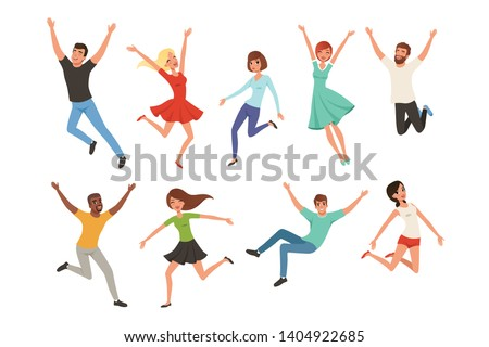 Flat vector set with jumping happy people. Joyful men and women in different positions. Cartoon characters of young guys and girls in casual outfit