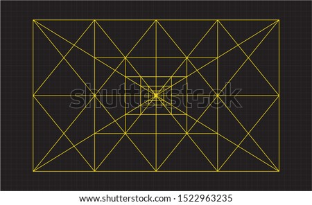 Flat vector the golden ratio design. Fibonacci sequence circles illustration. Golden proportion. Geometric shapes. Isolated scalable vector illustration of golden ratio. Logo vector golden ratio.