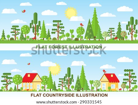 flat vector tree and house