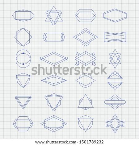 Flat vector various 2d shapes. 2d shape illustration. Vector illustration for logo. Outline shaping vector.