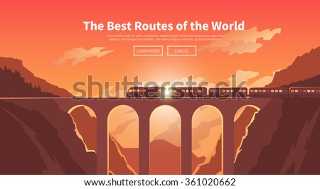 Flat vector web banner on the theme of travel by train, high speed train, vacation, mountain landscape, railway, adventure. Sunset sky. The bridge, mountain railway. Stylish modern flat design.