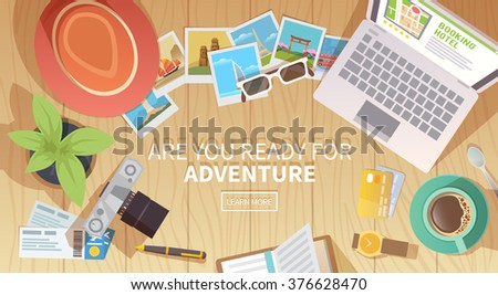 Flat vector web banner on the theme of travel , vacation, adventure. Preparing for your journey. Outfit of modern traveler. Objects on wooden background. Top view. Are you ready for Adventure #2