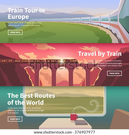 Flat vector web banners on the theme of travel by train, high speed train, vacation, landscape, view from window, railway, adventure. Mountain landscape. Sunset sky. The bridge, mountain railway.