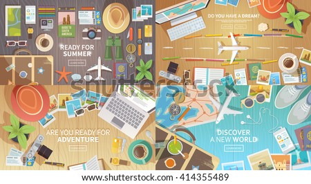 flat vector web banners set on