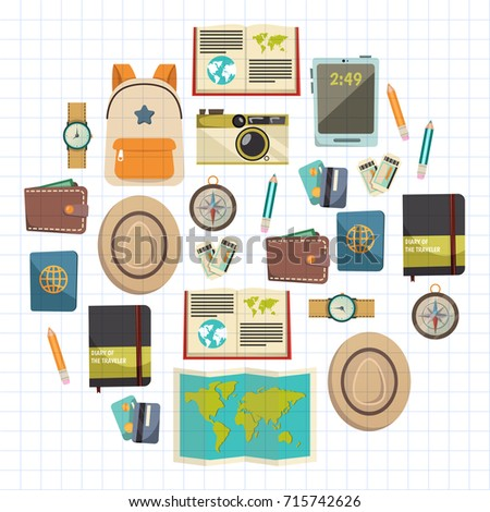 Flat vector web banners set on the theme of travel , vacation, adventure. Time for journey. Top view. Outfit of modern traveler. Vector objects isolated on background.
