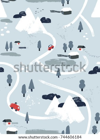 flat vector winter snowy