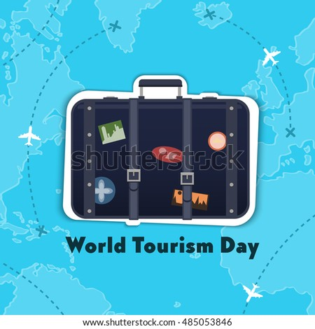 Flat,vector. World Tourism Day. Figure suitcase with stickers. Travel throughout the land.