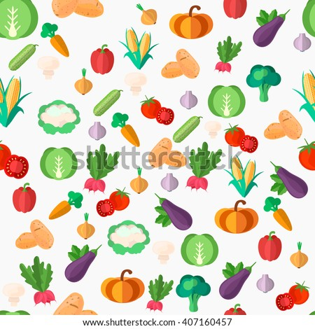 Flat vegetables seamless pattern. Vector flat Illustrations for web, print and textile #407160457