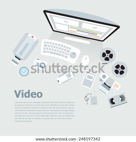 Flat video camera desk elements