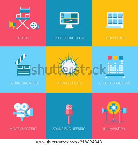 Flat video music movie producing design icons set casting post production storyboard studio showreel visual effects sound. Modern web click infographics style vector illustration concept collection.