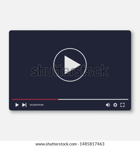 Flat Video Player Interface Template for Web and Mobile Apps