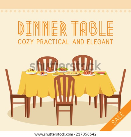 flat vintage dinner table with
