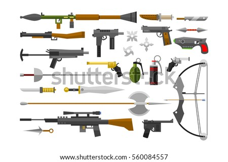 flat weapons collection vector