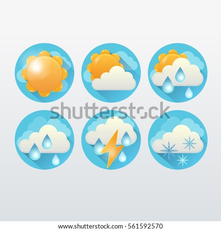 Flat Weather Icon Vector Collection