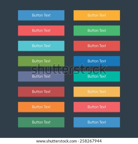Flat web buttons set in various colours.
