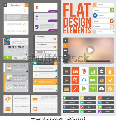 Flat Web Design elements, buttons, icons and video player. Templates for website or applications.