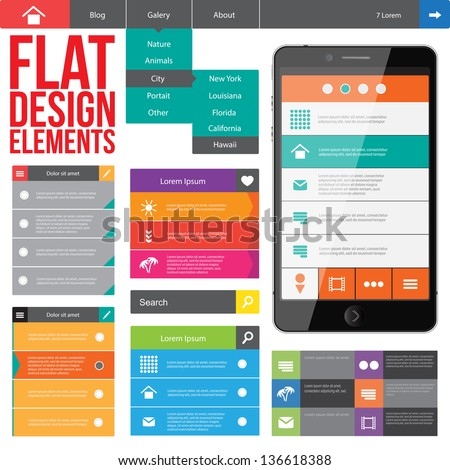 Flat Web Design, elements, buttons, icons. Templates for website.