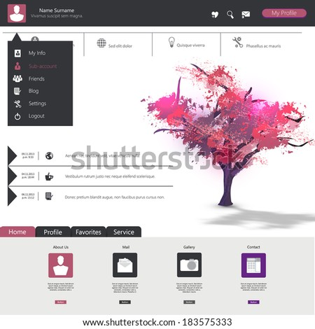 Flat web design elements buttons icons Website template