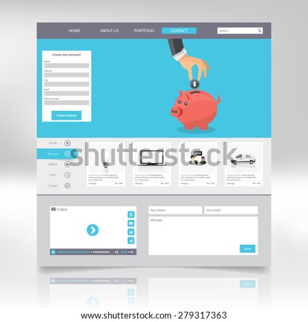 Flat web design elements, buttons, icons. Website template.  Vector