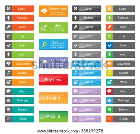 Flat Web Design elements - set of color buttons with icons.  #388199278