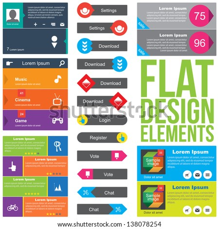 Flat Web Design elements Templates for website