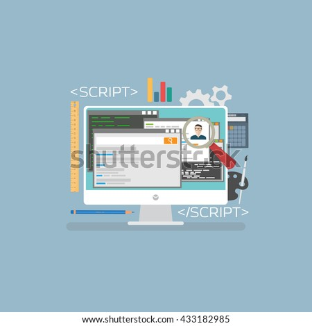 Flat web development concept. Web browser and window on monitor and programs for scripting and programming web applications on html 5 programming lenguage.