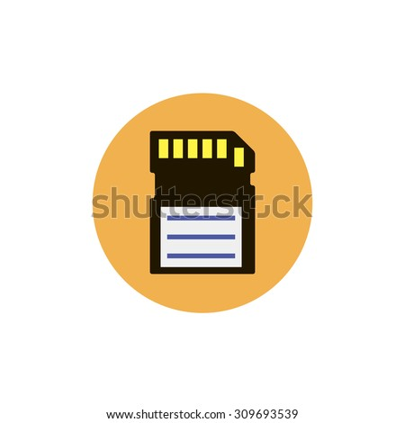Flat web icon of memory card